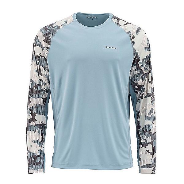 Simms Solarflex Long Sleeve Print Crew Mens Shirt, Hex Flo Camo Carbon, 600