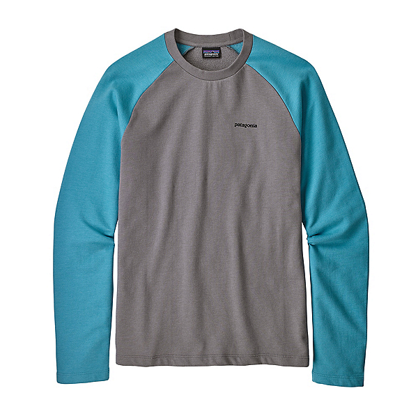 Patagonia P-6 Logo Lightweight Crew Mens Sweatshirt, Feather Grey-Mako Blue, 600