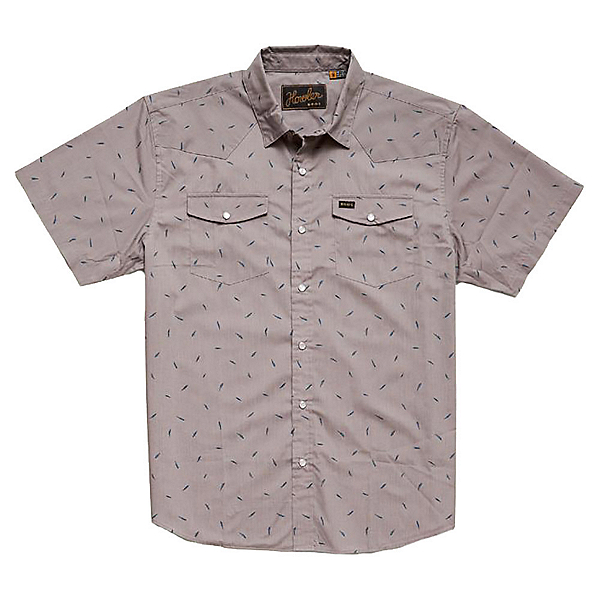 Howler Brothers H Bar B Snap Mens Shirt, Falling Feathers Print Dove Gr, 600