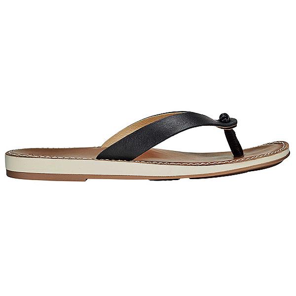OluKai Nohie Womens Flip Flops, Black-Tan, 600