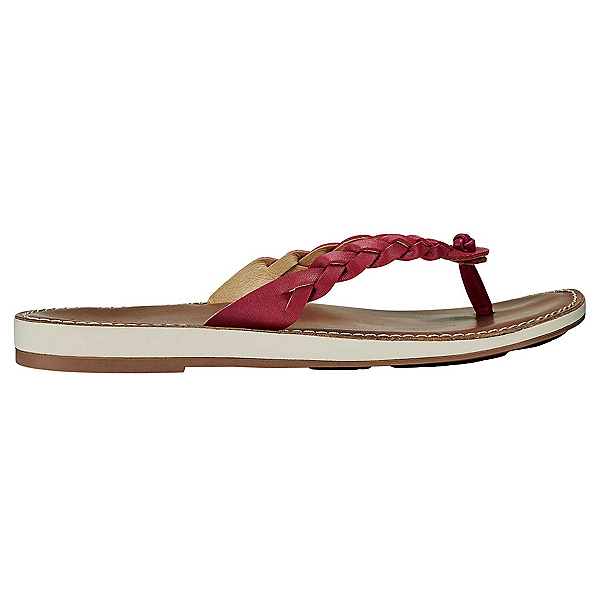 OluKai Kahkio Womens Flip Flops, Burndt Red-Tan, 600