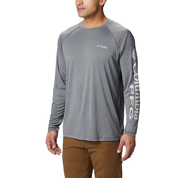 Columbia Terminal Tackle Heather Long Sleeve Mens Shirt, Charcoal Heather-Cool Grey, 600