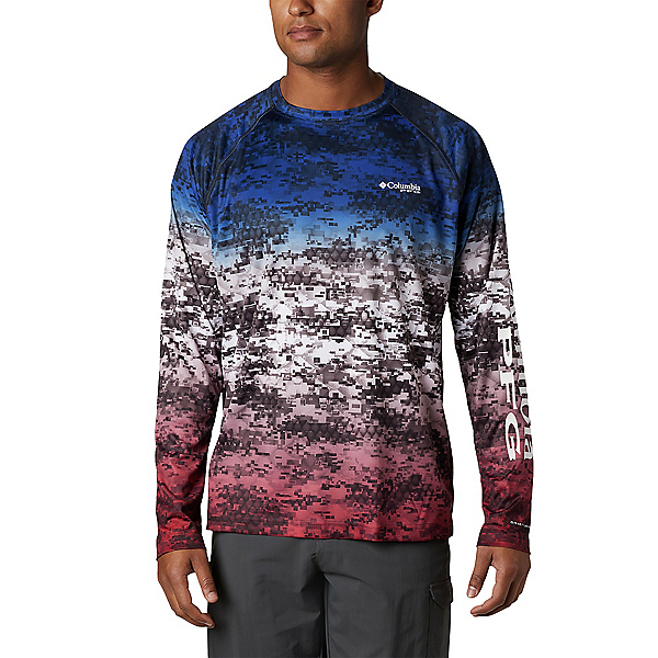 Columbia PFG Super Terminal Tackle Long Sleeve Mens Shirt, Americana Digi Camo Fade, 600