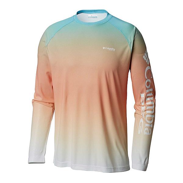 Columbia PFG Terminal Deflector Printed Long Sleeve Mens Shirt, Riptide Gradient, 600
