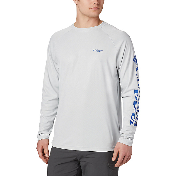 Columbia Terminal Deflector Long Sleeve Mens Shirt, Cool Grey-Vivid Blue, 600