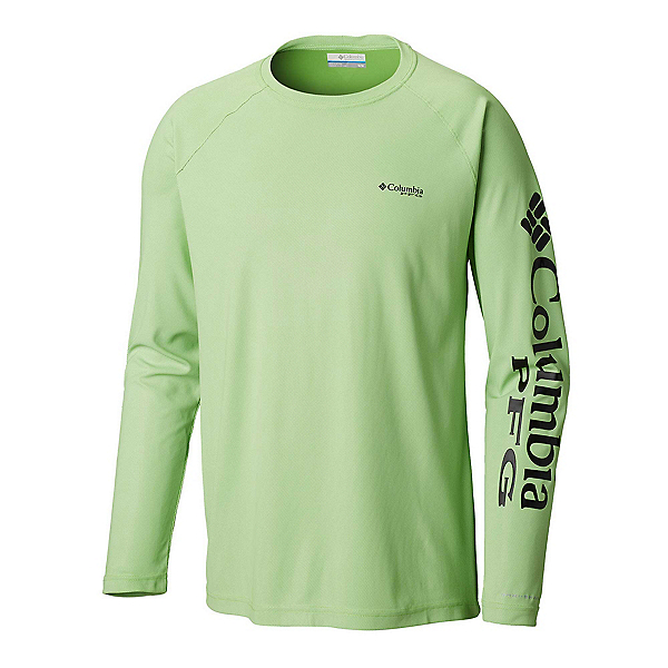 Columbia Terminal Deflector Long Sleeve Mens Shirt, Green Mamba-Black, 600
