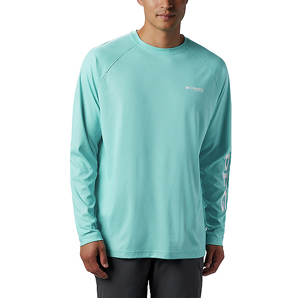 Columbia Terminal Deflector LS Mens Shirt, Bright Aqua-White, 600
