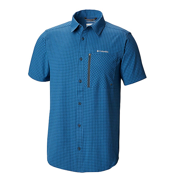 Columbia Tech Trail Short Sleeve Mens Shirt, Petrol Blue Gingham, 600