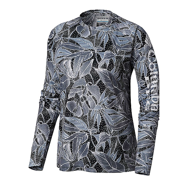 Columbia Super Tidal Long Sleeve Womens Shirt, Black Dotty Palms, 600