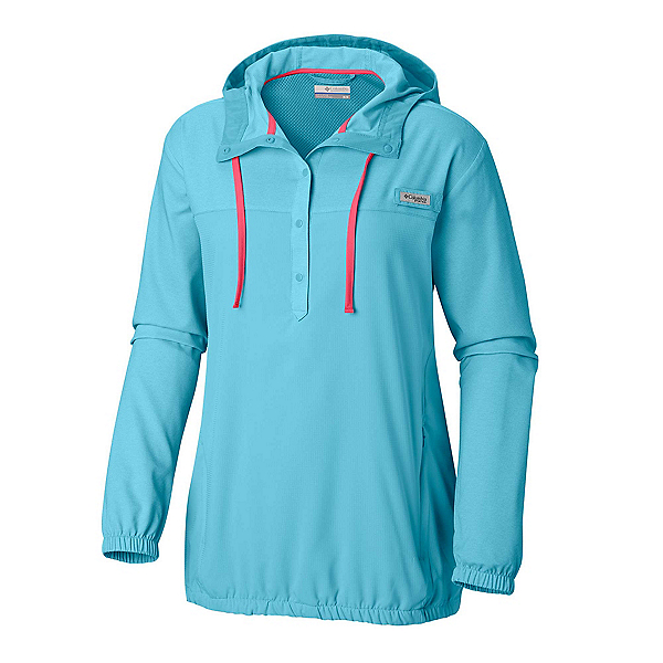 Columbia Tamiami Womens Hoodie, Coastal Blue-Bright Geranium, 600