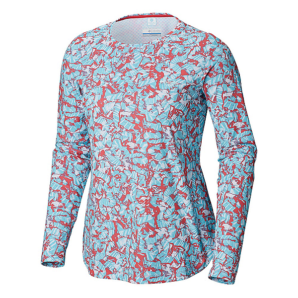 Columbia Printed PFG Zero Long Sleeve Womens Shirt, Bright Geranium Painted Coral, 600
