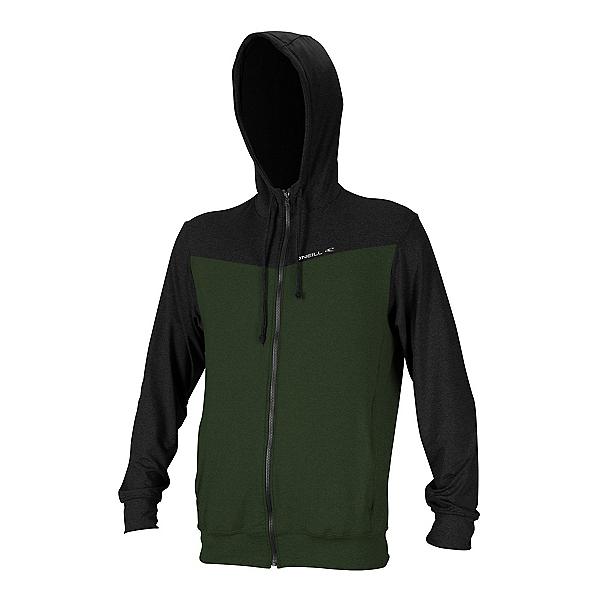 O'Neill Hybrid Long Sleeve Full Zip Sun Hoodie Mens Rash Guard 2020, Dark Olive-Black, 600