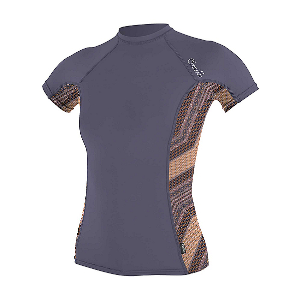 O'Neill Side Print Short Sleeve Womens Rash Guard 2019, Dusk-Aztec, 600