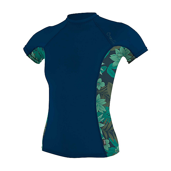 O'Neill Side Print Short Sleeve Womens Rash Guard, Abyss-Faro, 600