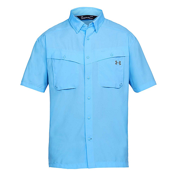 Under Armour Tide Chaser Short Sleeve Mens Shirt, Carolina Blue-Steel, 600