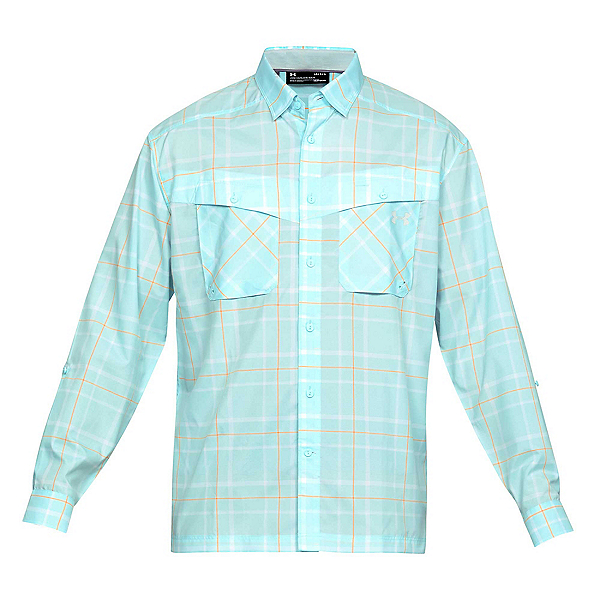 Under Armour Tide Chaser Long Sleeve Plaid Mens Shirt, Fuse Teal-Elemental, 600