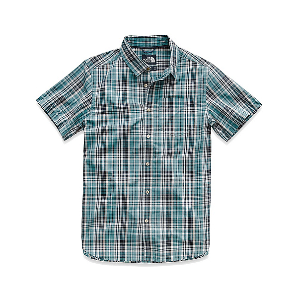 The North Face Hammetts Short-Sleeve Mens Shirt (Previous Season) 2019, Storm Blue Sebastian Plaid, 600