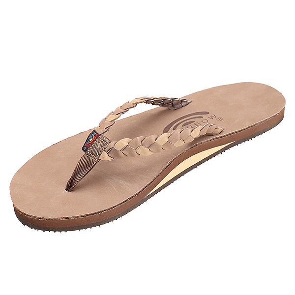 Rainbow Sandals Twisted Sister Womens Flip Flops, Dark Brown, 600
