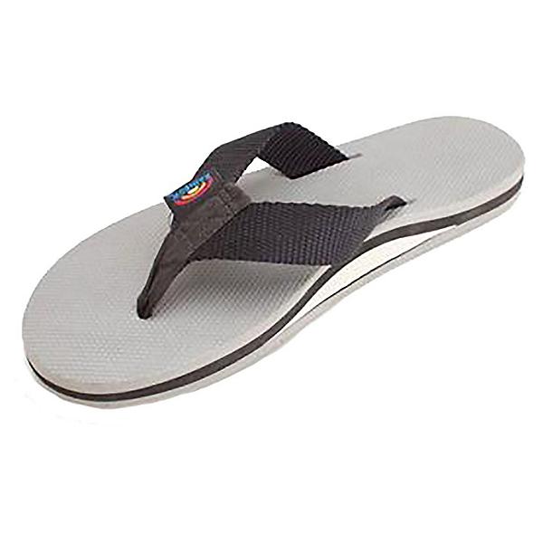 Rainbow Sandals Single Layer Classic Rubber Mens Flip Flops, Black-Grey, 600