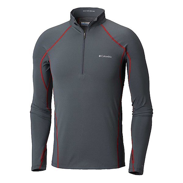 Columbia Midweight Stretch Long Sleeve Half Zip Mens Long Underwear Top, Graphite-Red Spark, 600