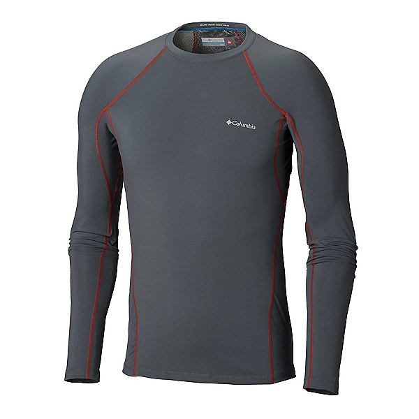 Columbia Midweight Stretch Long Sleeve Mens Long Underwear Top, Graphite-Red Spark, 600