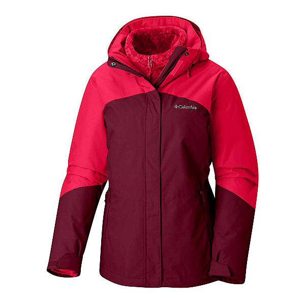 Columbia Bugaboo II Fleece Interchange Womens Insulated Ski Jacket, Rich Wine-Red Mercury, 600
