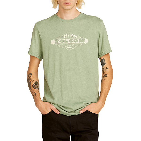 Volcom Run Mens T-Shirt 2019, Dusty Green, 600