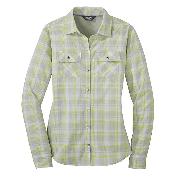 Outdoor Research Passage Long Sleeve Womens Shirt 2019, Alloy Plaid, 600