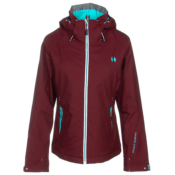 Double Diamond Crest Womens Insulated Ski Jacket, Mountain Red, 600