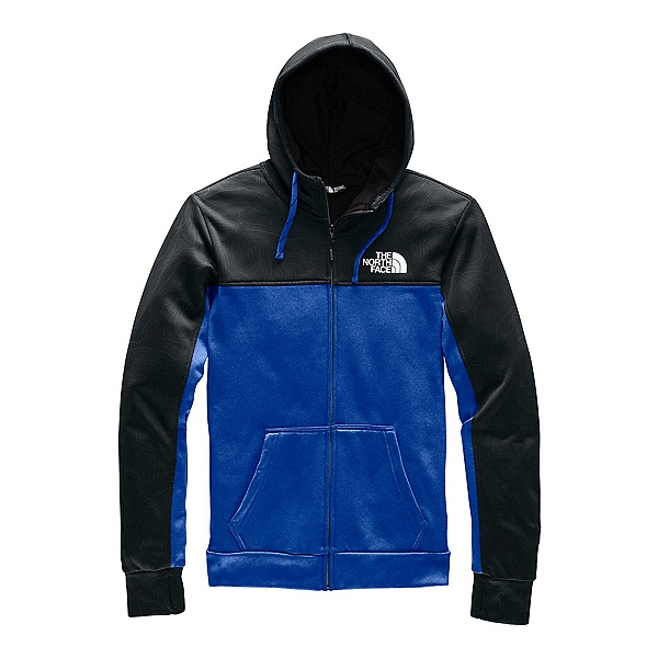 The North Face Surgent Bloc Full Zip 2.0 Mens Hoodie, TNF Black Topo Print-TNF Blue, 600