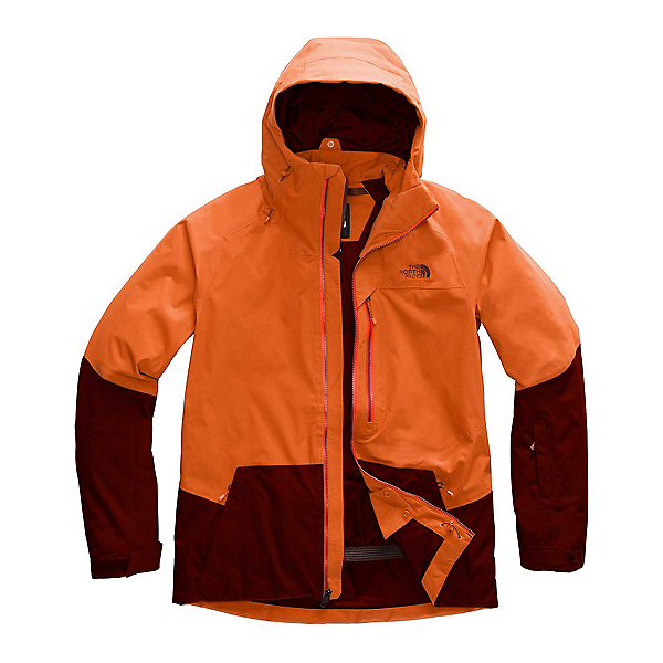 The North Face Sickline Mens Insulated Ski Jacket, Papaya Orange-Sequoia Red, 600