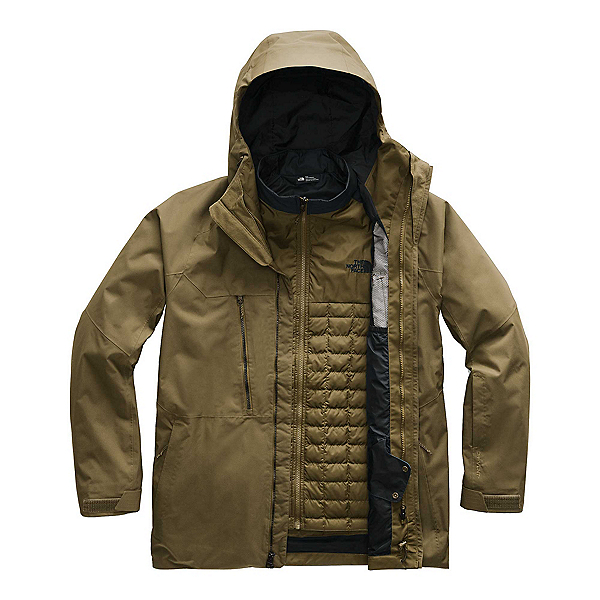 The North Face ThermoBall Eco Snow Triclimate Mens Insulated Ski Jacket, Military Olive, 600
