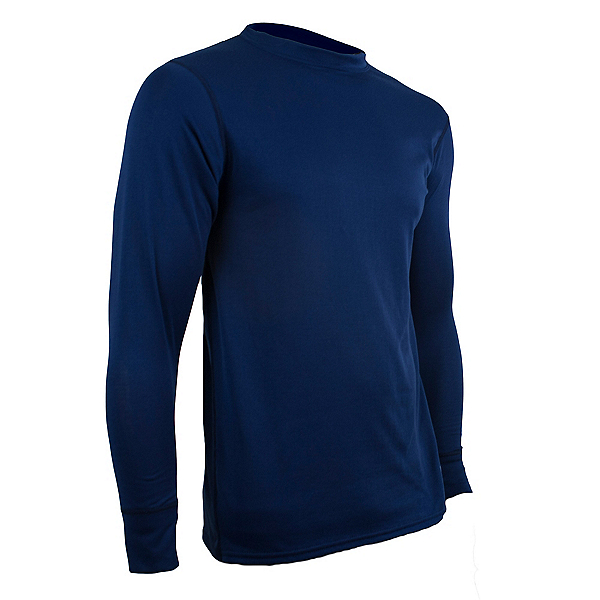 PolarMax Double Layer Crew Mens Long Underwear Top, Indigo Blue, 600