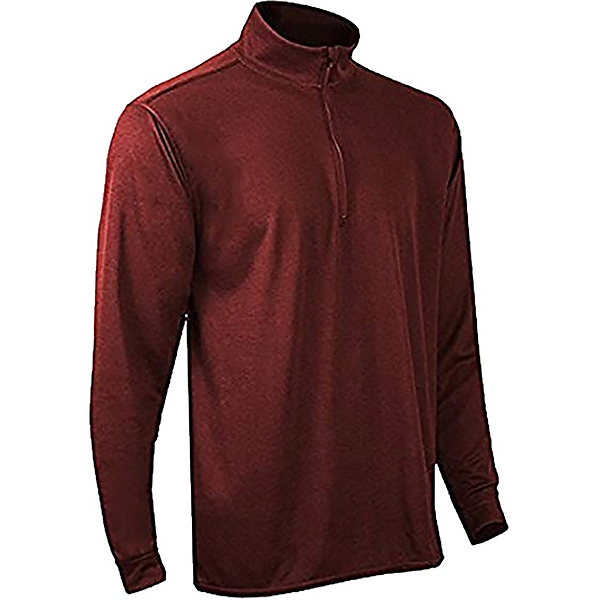 PolarMax Double Layer Mock Zip Mens Long Underwear Top, Brick, 600
