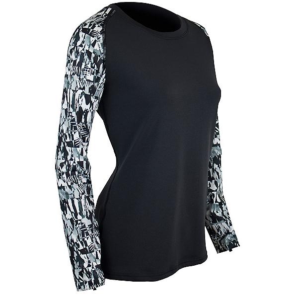PolarMax LIFE 4-Way Stretch Crew Womens Long Underwear Top, Liza Print-Little Black Print, 600