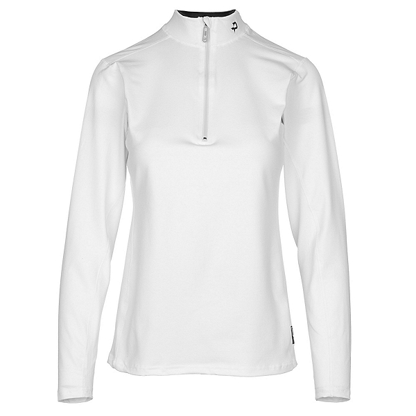 PolarMax 4-Way Stretch Mock Zip Neck Womens Long Underwear Top, White, 600
