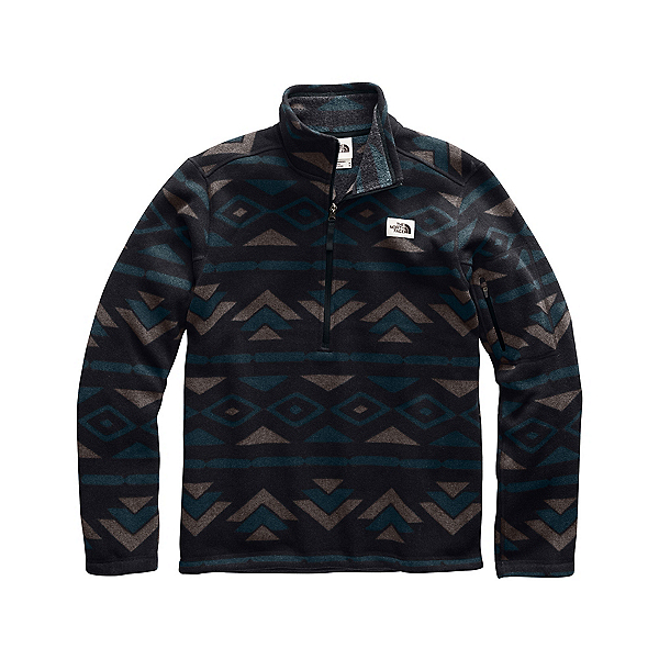 The North Face Gordon Lyons Novelty 1/4 Zip Mens Mid Layer, TNF Black California Geo Stripe Print, 600