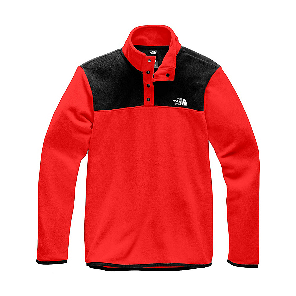 The North Face TKA Glacier 1/4 Zip Mens Mid Layer, Fiery Red-TNF Black, 600
