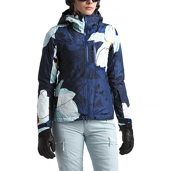 The North Face Descendit Womens Insulated Ski Jacket, Flag Blue Rom Print, 600