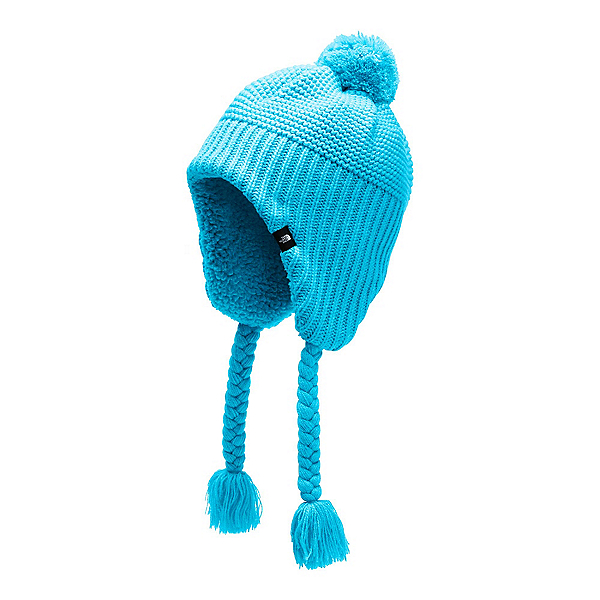 The North Face Purrl Stitch Earflap Kids Hat (Previous Season) 2020, Turquoise Blue, 600
