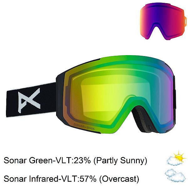 Anon Sync Womens Goggles 2020, Black-Sonar Green + Bonus Lens, 600
