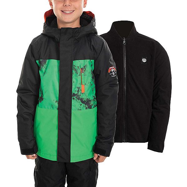 686 SMARTY 3-in-1 Boys Snowboard Jacket 2020, Hex Green Colorblock, 600