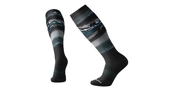 SmartWool Mens Smartwool PhD Ski Medium Pattern Snow Socks Black Blue Sports