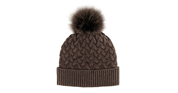91c3871fa Mitchies Matchings Braided Knit with Fox Fur Pom Womens Hat
