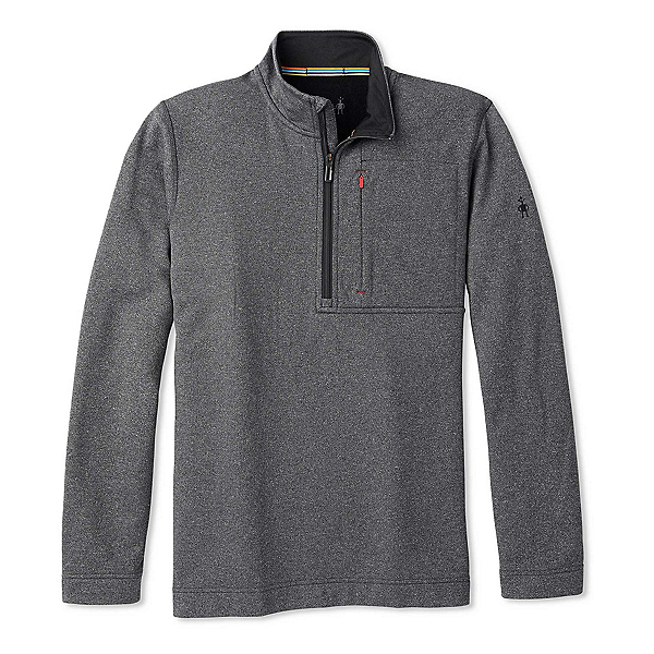 SmartWool Merino Sport Fleece Half Zip Mens Mid Layer, Charcoal Heather, 600
