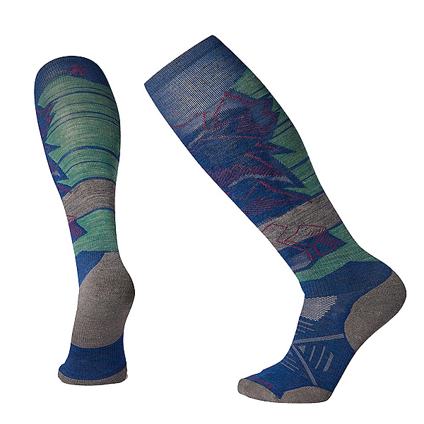 SmartWool PHD Ski Light Elite Patterned Ski Socks 2020, Alpine Blue, 600