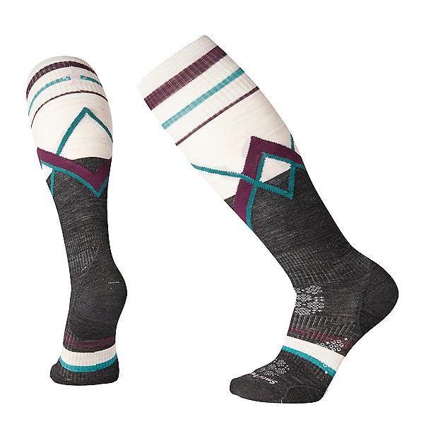 SmartWool PhD Ski Ultra-Light Pattern Womens Ski Socks, Charcoal, 600
