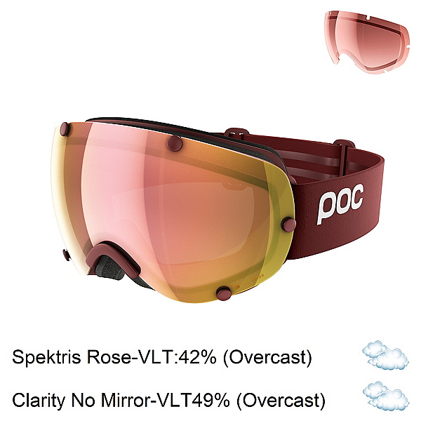 POC Lobes Clarity with Extra Lens Goggles 2019, Lactose Red-Spektris Rose Gold + Bonus Lens, 600