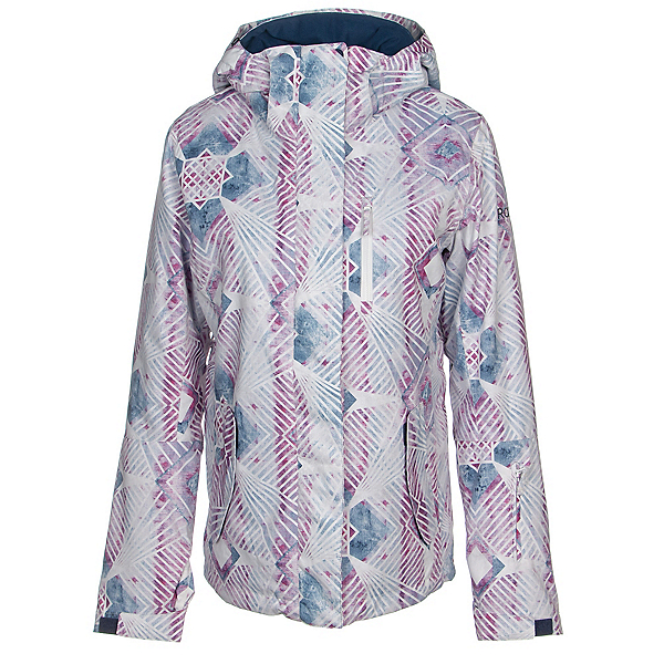 Roxy Jetty Womens Insulated Snowboard Jacket, Medieval Blue-Labyrinth, 600