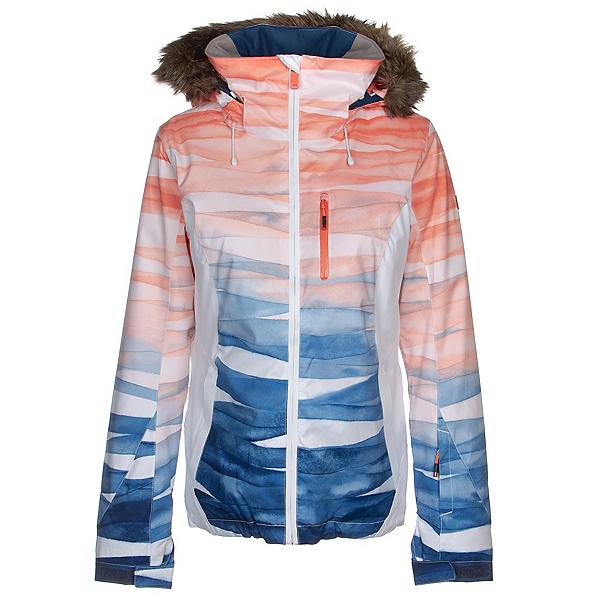 Roxy Jet Ski Premium Faux Fur Womens Insulated Snowboard Jacket 2020, Mid Denim Yumi Yamada Print, 600